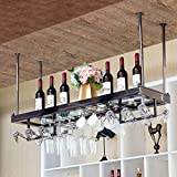 Estante para Vino de Acero Inoxidable Estante de Vidrio Colgante Estante de Vino Moderno Estante de Copa de Vino Creativo Estante de Botella de Vino Al Revés Altura/Espaciado Ajustable de La Pluma