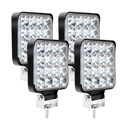 4 x phare de travail LED 12V 24V Feu de Travail 16 LED 48W, Lumières de travail hors route profondeur étanche IP67 pour tracteur de moto voiture camions ATV SUV (4pcs 48W)