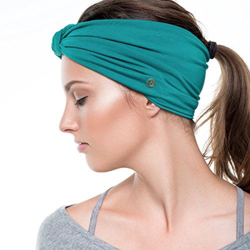 BLOM Original Multi Style Headband. for Women Yoga Fashion Workout Running Athletic Travel. Wear Wide Turban Thick Knotted + More. Comfort Style & Versatility. Jade Green.