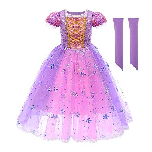 FYMNSI - Costume da principessa Rapunzel per bambini, per carnevale o per cosplay, travestimento da principessa, anche per Halloween, compleanni, cerimonie e matrimoni Paillettes lilla. 5-6 Anni