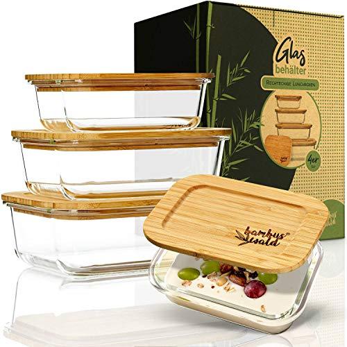 bambuswald© Juego de 4 tarros de cristal con tapa hermética   Recipientes...