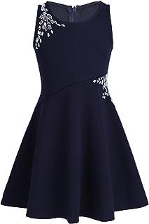 LiiYii Kids Girls Summer A-Line Dress Christening Sundress Rhinestone Embellished Birthday Party Outfits