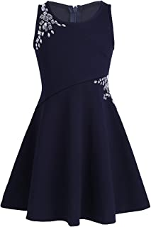 Girl's Dazzling Rhinestones Embellished Skater Party Dress for Casual Summer Wear