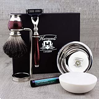 Complete Vintage Style Shaving Set for Men >Pure Black Badger Brush, Mach 3 Cartridge Replaceable, Dual Stand, Engraved Bowl & Soap