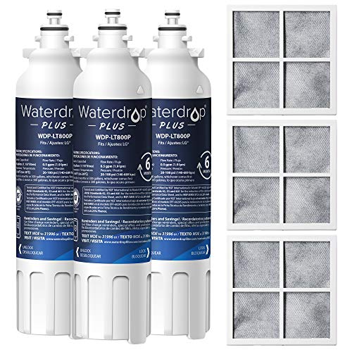 Waterdrop LT800P NSF 401&53&42 Certified Refrigerator Water Filter and LT120F Air Filter, Compatible with LG LT800P, Kenmore 9490, ADQ73613402, LSXS26326S, LMXC23746S, LSXS26366S, 469490, 3 Combo