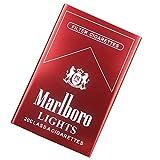 Una Caja De Tabaco Impermeable a Prueba De Humedad A Prueba de PresióN AleacióN de Aluminio de Metal PortáTil AutomáTicamente 20 Cigarrillos,Red,Marlboro