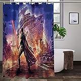 Cute Doormat Star War Badezimmer-Duschvorhang, strapazierfähiger Stoff, wasserdicht, mit 12 Haken (167,6 x 182,9 cm)