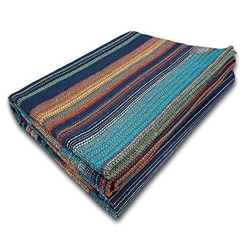 Craft Story Decke Fatima I türkis-blau-orange-gelb gestreift aus 100% Baumwolle I Tagesdecke I Sofa-Decke I Überwurf I Picknickdecke I Nutz- & Schutzdecke I ca.170 x 220cm