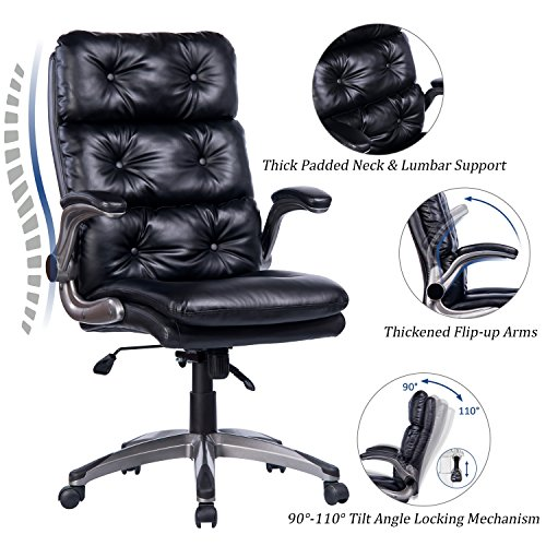 VANBOW High Back Bonded Leather Office Chair - Adjustable Tilt Angle and Flip-up Arms Ergonomic Computer Desk Executive Chair, Thick Padding for Comfort and Ergonomic Design for Lumbar Support (Black)