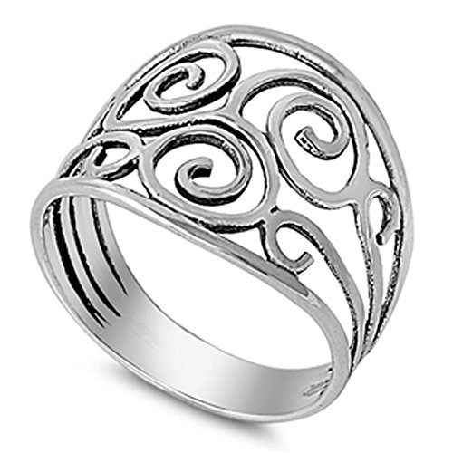 Anticato filigrana Swirl Spiral carino anello New 925sterling Silver Band taglie 4–13 e Argento, 30, cod. UK_B076XVVK6Z