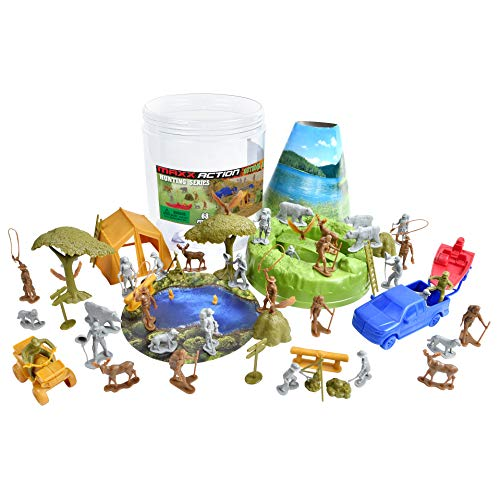 Camping Adventure Bucket – 68 Assorted Hunting Gear Toy Play Set For Kids, Boys and Girls | Plastic Figures and Vehicles with Storage Container