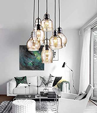 MoreChange Pendant Ceiling Lighting for Kitchen Island Black, Chandelier Hanging Light Fixtures with 6 Amber Glass Lampshades