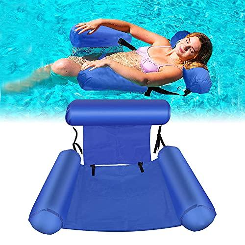 kunst für alle Aufblasbares Schwimmbett Schwimmende Reihe Wasservergnügen Lounge Chair Wasser Aufblasbares Schwimmbett Sofa Wasserbett Lounge Chairs Klappbare Rückenlehne (Blue)