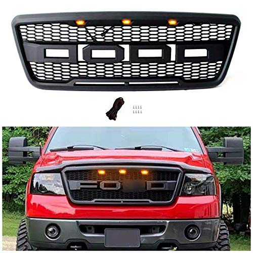 Motorium Raptor Style Grill for F150 2004 2005 2006 2007 2008, Including XL, XLT, Lightning, King Ranch and Limited, Front Grille for Ford, Matte Black