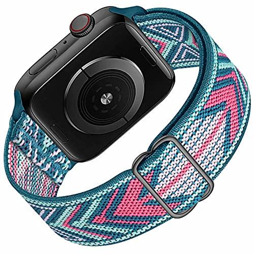 HILIMNY Solo Loop Compatible con Apple Watch Correa 38mm 40mm, Deportivas de Nailon Elástico Trenzado Para Correas de Repuesto Compatible con iWatch SE Series 6 5 4 3 2 1, Green Arrow 38mm 40mm