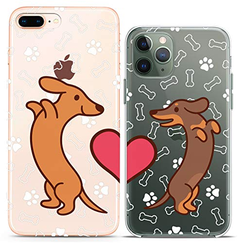 Cavka Matching Couple Cases Compatible with iPhone 12 Pro 5G Mini 11 Xs Max 6s 8 Plus 7 Xr 10 SE X 5 Doxie Dog Paw Pattern Cute Art Mate Silicone Pairs Cover Clear BFF Love Friends
