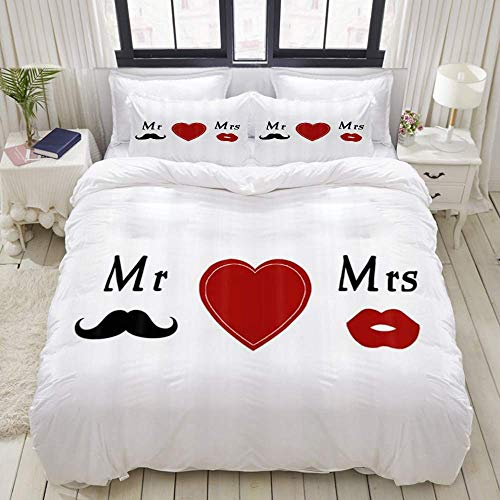 SUPERQIAO Juego de Funda nórdica de 3 Piezas de fácil Cuidado y 2 Fundas de Almohada, My Love Bride Groom Mr & Mrs, Elegante Funda de edredón de Microfibra de Calidad de Lujo