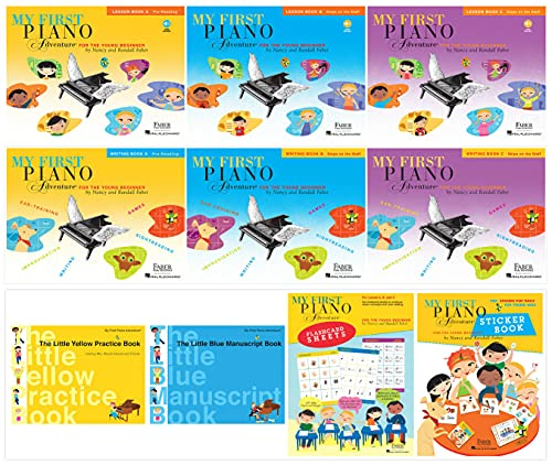 My First Piano Adventure Complete Books Set (10 Books) - Lesson Book A, B, C & Writing Book A, B, C & Yellow Practice Book, Blue Manuscript Book, Sticker Book, Flashcard Sheets
