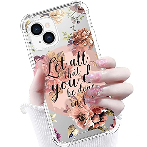 Gukalong Clear Case for iPhone 13 Flowers Bible Verse Christian Quotes Floral Design Full Body Shockproof Protective Hard Cover Wireless Charging Slim Thin Case for iPhone 13 6.1 Inch