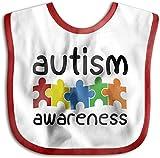 Concienciación sobre el autismo Toalla para bebés recién nacidos Niños niñas Saliva amigable con la piel Baberos-Rojo