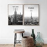 xwlljkcz Wall Art New York Posters and Prints Paris Wall Art Print Lienzo Pintura Caligrafía Cuadros de Pared para Sala de Estar 30x40cmx2 con Marco