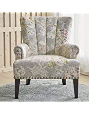 LARRY Scroll Classic Armchair [Beige] Living Room Chair - Printed Fabric, Pleated Design, Nail Detailing | Accent Chairs