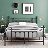 VECELO Double <span class='highlight'>Bed</span> Frame Metal <span class='highlight'>Bed</span> Base Platform with Headboard and Footboard storage Victorian Style for Adult,Kids, Teenagers (Black, 190 * 135cm)