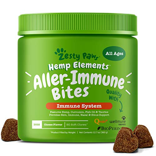 Allergy Immune Supplement with Hemp for Dogs - For Skin & Sinus + Seasonal Pollen Dog Allergies - With Cod Liver Fish Oil, Curcumin, BioPerine, Vitamin C & Quercetin - Omega 3 & 6 Support - 90 Chews