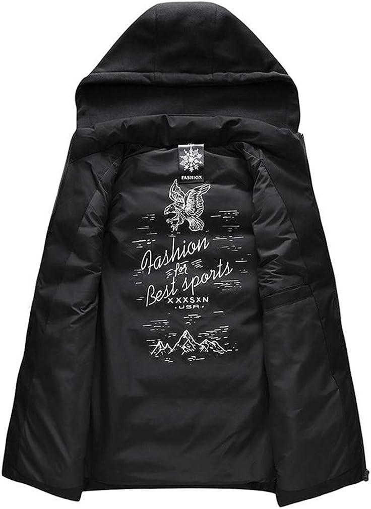 DFLYHLH Cotton Vest Men Plus Size Large Casual Winter Sleeveless Jacket Male Hooded Thick Warm Parka Waistcoat Black XXXL for 175cm 75kg