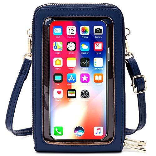 Sac Téléphone Portable Femme avec Fenêtre à Écran Tactile, Petit Sac à Bandoulière en Cuir Sac Portefeuille Telephone Mini Pochette Téléphone Portable, pour iPhone 11 Pro/11/Xs Max/XR/Xs (Bleu)