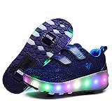 TTW Chaussures de Patinage à roulettes pour Enfants avec LED Light Up Double Wheel, Chargement USB Baskets à roulettes...