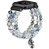 CAGOS Bracelet Beadeds Compatible with Apple Watch Band 38mm/40mm Series SE/6/5/4/3/2/1 Cute Handmade Fashion Elastic Stretch Beaded Strap Replacement with Stainless Steel Adapter for iWatch Gray