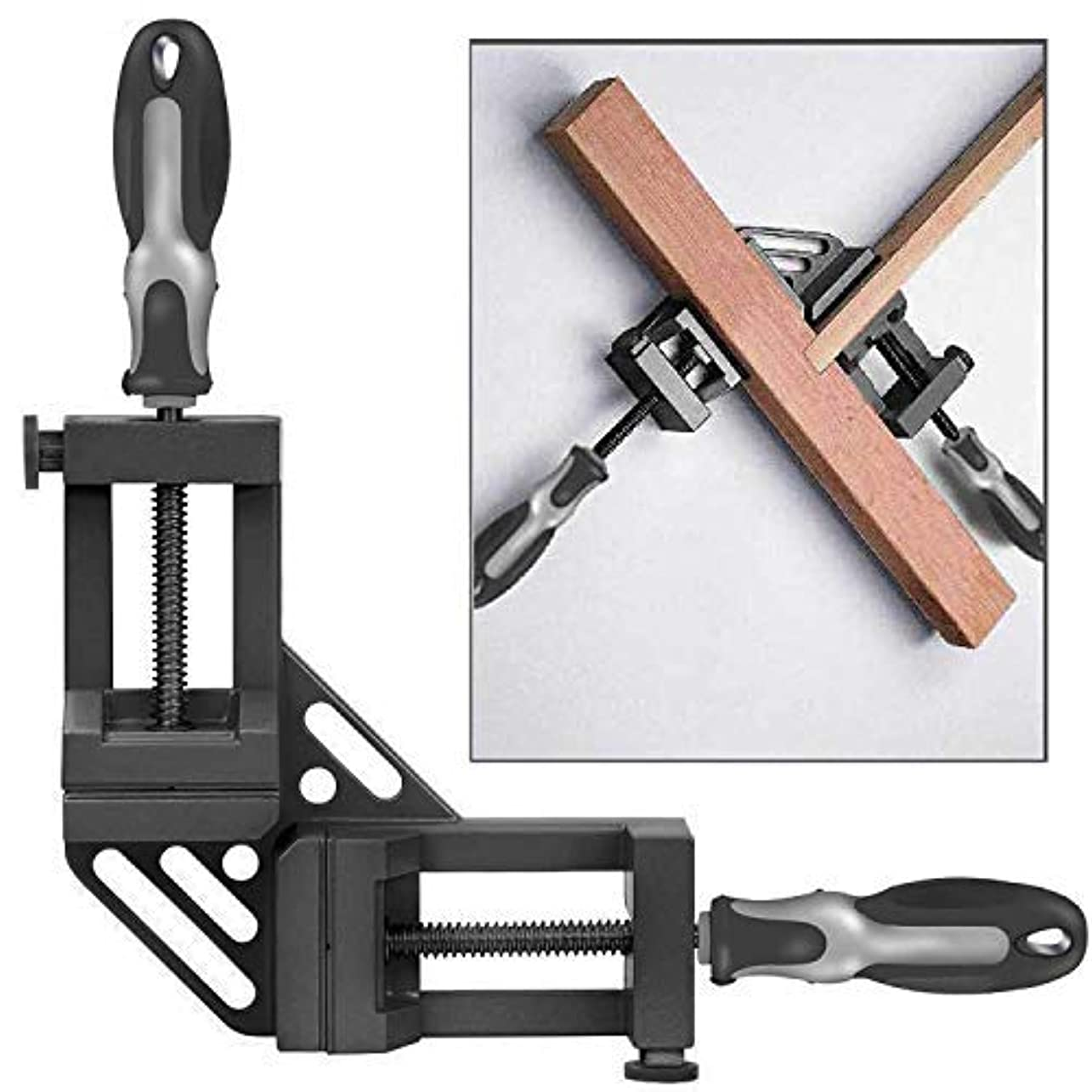 写真を撮るグローバル会員WISION Double Handle 90° Right Angle Clamp/Corner Clamp with Aluminum Alloy Body, Upgrade Steel Nut for Welding, Quick-Jaw Corner Clamp for Wood-working, Photo Framing [並行輸入品]