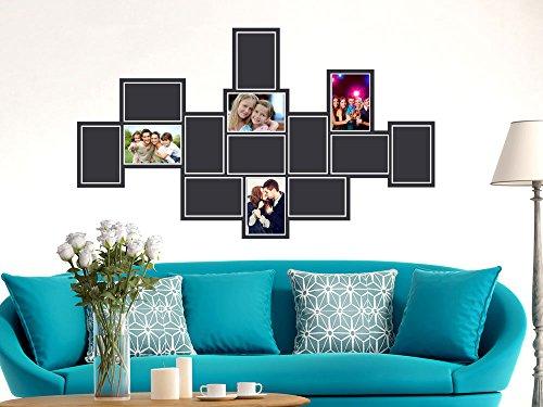 GRAZDesign Wandaufkleber Wanddeko Bilderrahmen für 14 Fotos, Deko Wohnzimmer modern Collage, Wandtattoo Fotowand Fotorahmen / 96x57cm