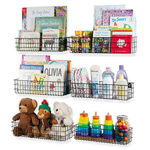 Wall35 Kansas Wall Mounted Kids Room Bookshelf Metal Wire Basket Varying Sizes Set of 6 (Black)