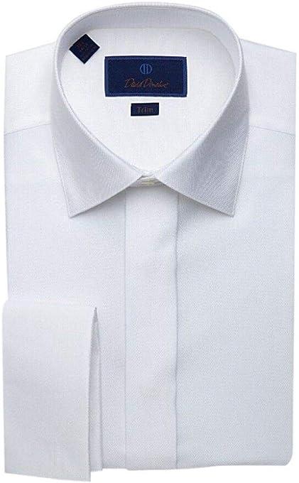 David Donahue Mens Trim Fit Diamond Pattern French Cuff Formal Shirt