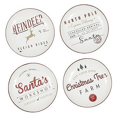 DII Santa's Workshop Porcelain Appetizer Plates Set of 4