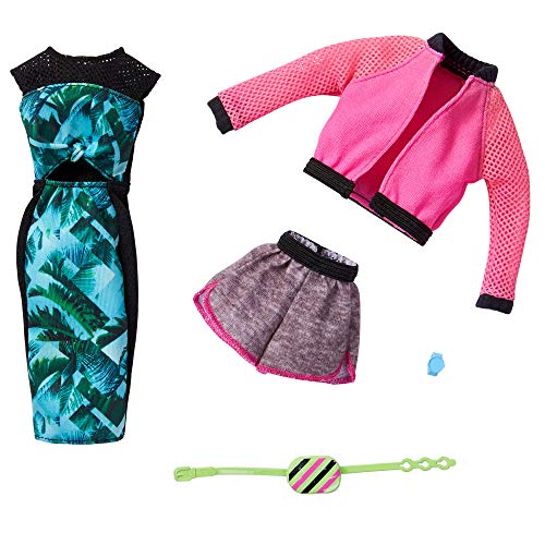 Barbie Fashions 2-Pack Clothing Set, 2 Outfits Doll Include Pink Sport Jacket, Gray Shorts, Blue Tropical Print Dress & 2 Accessories, for Kids 3 to 8 Years Old