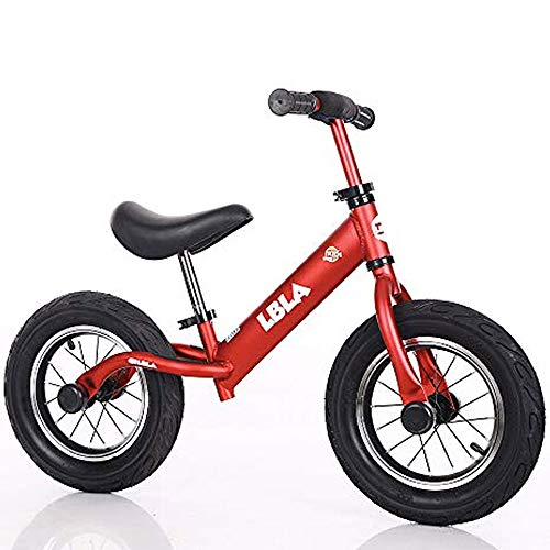 Kids Balance Bike, No Pedal Toddler Bike with Carbon Steel Frame Adjustable Handlebar and Seat 12inch Toddler Walking Bicycle for Kids 2 to 6 Years Old (red-2)