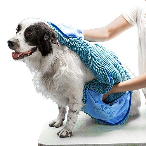 Tuff Pupper Large Dog Shammy Towel | Ultra Absorbent | Durable 35 x 15 Size for Dogs of All Breeds | Quick Drying Chenille Fabric | Designed for Indoor and Outdoor Use | Machine Washable (XL, Blue)