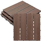 HOZEON 4 PCS 12 x 12 Inch Deck Tiles, Wood Plastic Composite Outdoor Flooring Easy Install Interlocking Patio Tiles, Waterproof for Outdoor Indoor Use