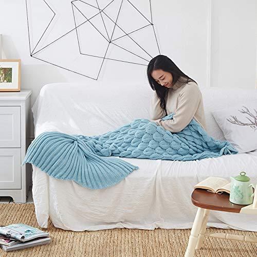 StAuoPK handgebreide zeemeerminstaart gebreide deken, deken gebreide kasjmier warme bank deken (60x140cm, 95x195cm)