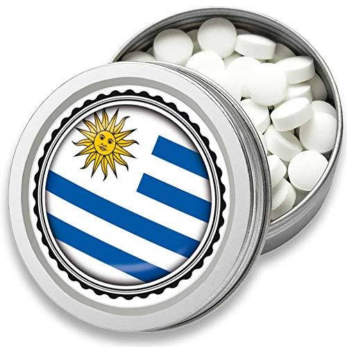 FAN Mint | 3er Set Pfefferminz Bonbons mit Uruguay Flagge | Geschenk, Souvenir Uruguay Fahne | Bonbon-Dose, Fan-Artikel, Party Deko (Uruguay)