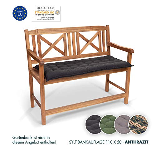 Homeoutfit24 Sun Garden 1-Stück Bankauflage Sylt in Schwarz Sitzkomfort auf höchstem Niveau, hochwertiges Polsterkissen für Gartenmöbel, 110 x 50 x 7 cm