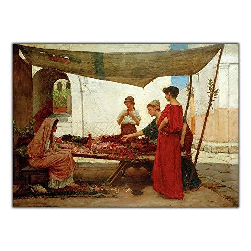 LTXMZ Flor Mujer Poster William Waterhouse 《A Grecian Flower Market》 Canvas Oil Pintura CláSico Pared Arte Retro Cuadro Salon 40x60cm No Marco