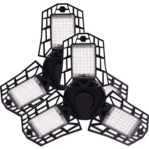 LED Garage Lights, 60W Deformable LED Garage Ceiling Lights with 3 Adjustable Panels, 6000LM, E26 LED Shop Lights for Garage, Warehouse, Basement, Barn Light (No Motion Detection) (60W, 2 Pack)