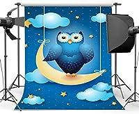 新しいビニール5X7FT甘いベビーシャワー背景きらきらきらきら星ボケドット青空白い雲フクロウ漫画写真の背景の男の子女の子誕生日パーティー写真スタジオ小道具429