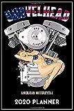 Shovelhead American Motorcycle 2020 Planner: Black Cover, Old School Harley Davidson USA Flag Pinup Bikini Model VTwin Rockabilly Biker Chopper Gear.   155 Page  Daily Weekly Planner  Journal Guide
