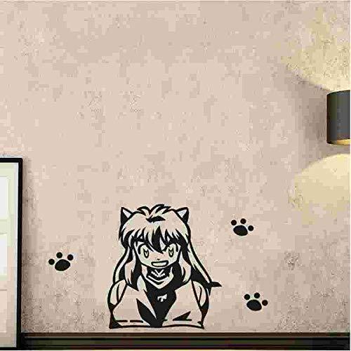 Anime Cartoon Manga Comics Cute Inuyasha Sesshomaru Paw print Vinilo Etiqueta de la pared Calcomanía del coche Boy Fans Dormitorio Sala de estar Club Decoración para el hogar Mural