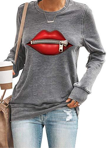 Yidarton Damen Casual Lose Langarmshirt Rundhals Lippen Sweatshirt Pullover Oberteile (469-Grau, Small)